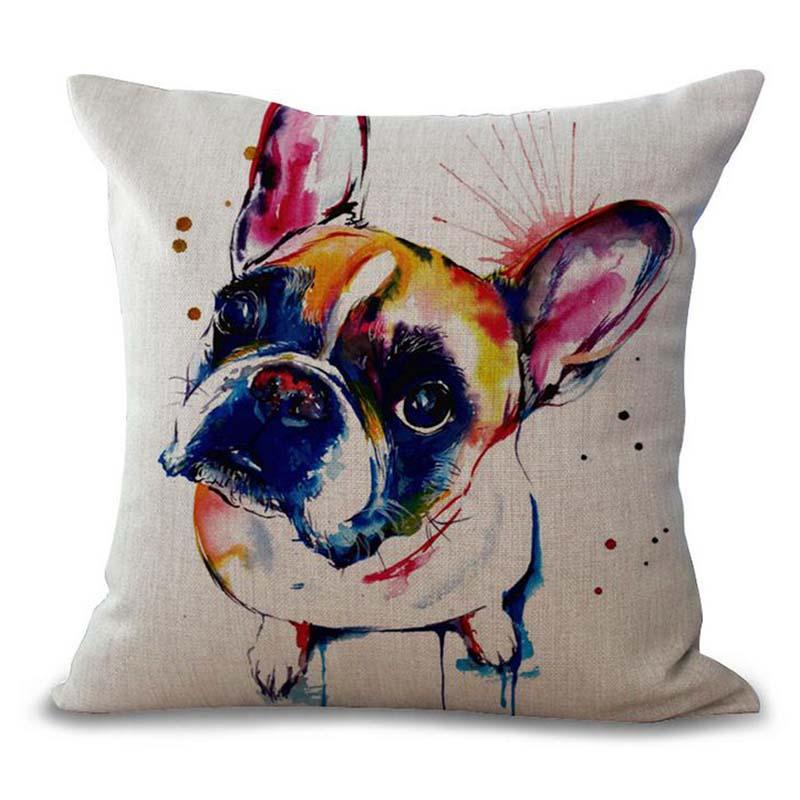 Acheter | Housse de coussin motif chien bouledogue marron pas cher