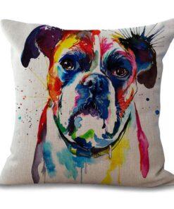 housse de coussin à motif chien boxer coloré