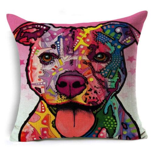 housse de coussin à motif chien pitbull rose