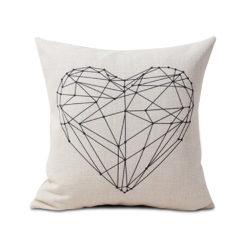 housse de coussin scandinave blanc à motif coeur