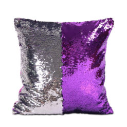 housse de coussin à paillettes réversibles argent et violet