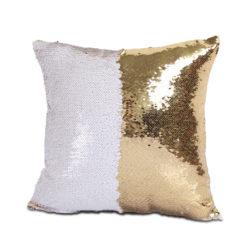 housse de coussin à paillettes réversibles blanc et or