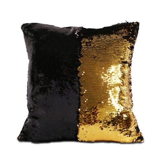 housse de coussin à paillettes réversibles noir et doré