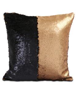 housse de coussin à paillettes réversibles noir et or mat