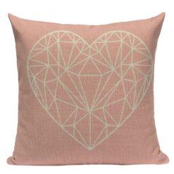 housse de coussin scandinave rose à motif cœur