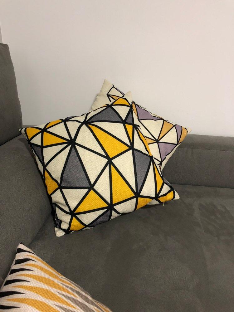 coussin scandinave jaune et gris