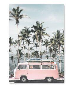 affiche palmier et van